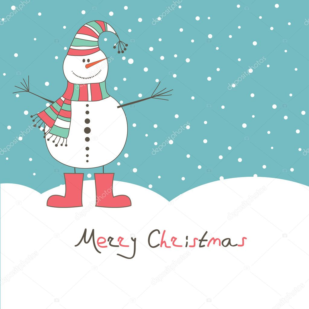 New year's card with angel snow man. Vector illustration — Stock Vector #3770887
