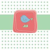 Romantische groene kaart met vogel. vectorillustratie — Stockvector