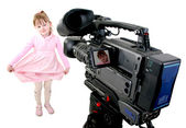 Hd-camcorder shoot a girl — Stock Photo