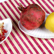 Stock Photo: Pomegranate and lemon