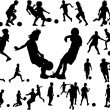 Royalty-Free Stock Imagen vectorial: Kids silhouette playing football