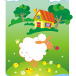 Summer background with small house and sheep — Stock Vector