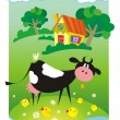 Summer background with small house and cow — Векторная иллюстрация