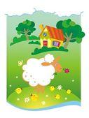 Fondo de verano con casita y ovejas — Vector de stock