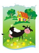 Summer background with small house and cow — Vector de stock