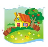 Summer background with small house and chickens — Stockvector