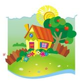 Summer background with small house — Vector de stock