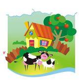 Fondo de verano con casita y vacas — Vector de stock