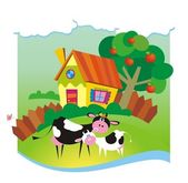 Summer background with small house and cows — Stockvector