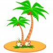 Two palm trees on island — Stock Vector