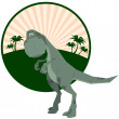 Dinosaur against palm trees. A vector illustration — Stock Vector