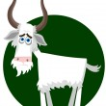 Sad goat. A vector illustration — Stock Vector