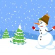 The snowman. A vector illustration — Stock Vector