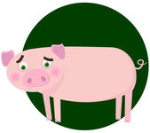Amusing pig. A vector illustration — Stock Vector
