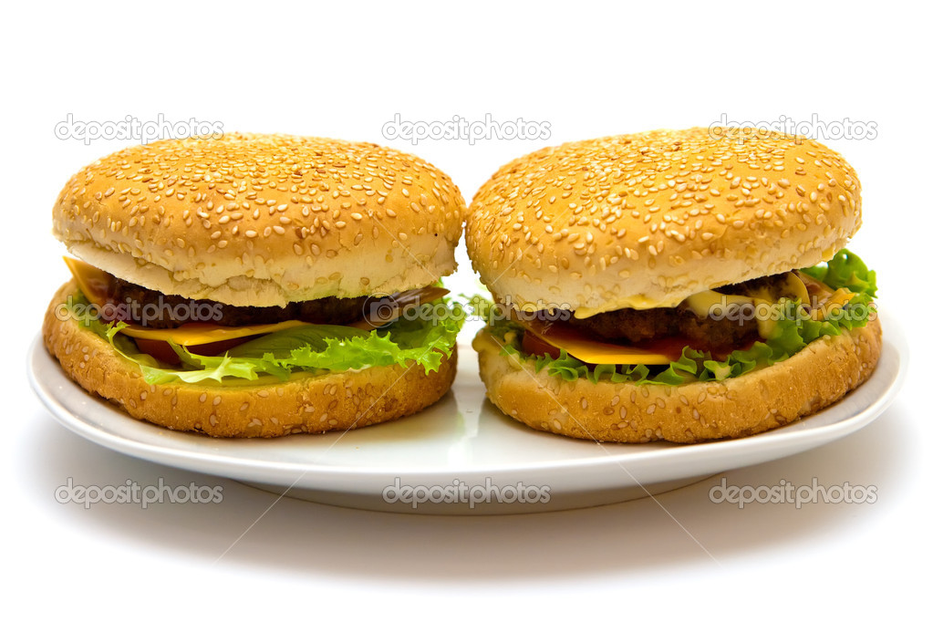 Close-up two isolated tasty burgers on a plate — Stock Photo #2831321