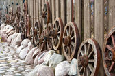 Wheels Are Hanging On A Fence — Stock Photo
