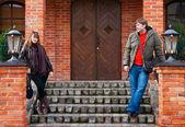 Couple Near An Old House — Stock Photo
