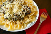 Farfalle With Eggplant Sause — Stock Photo