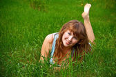 Smiling Woman On A Grass — Stock fotografie