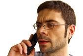 недоумение человек, разговор по телефону — Стоковое фото