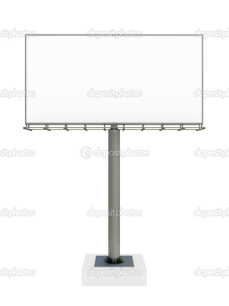 3d blank billboard on white background — Stock Photo #3755674