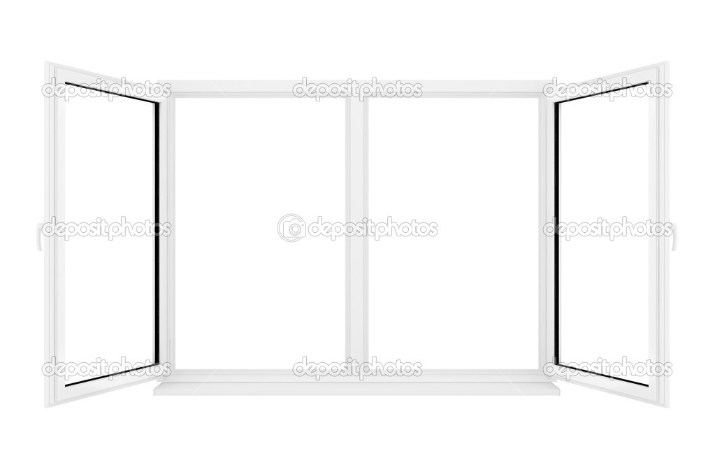 3d opened plastic window on white background  — Stock Photo #3755705