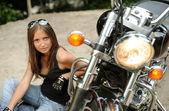 Biker girl — Stock Photo
