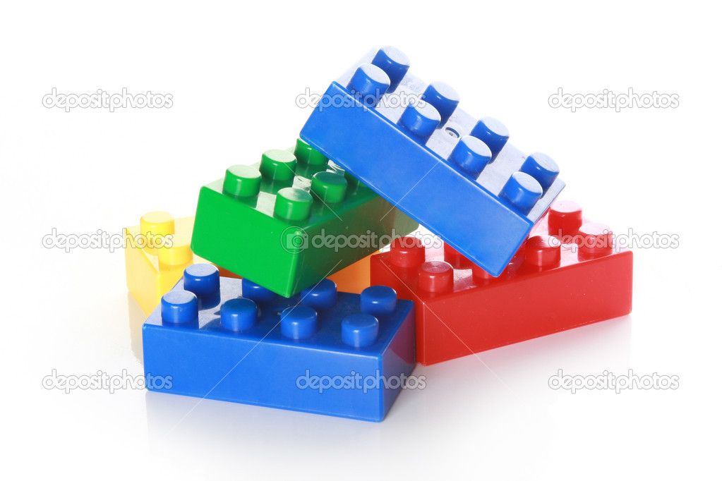 Colorful building blocks on white background — Stok fotoğraf #2733711