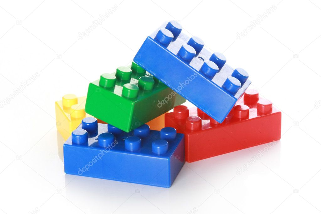 Colorful building blocks on white background  Stock Photo #2733711