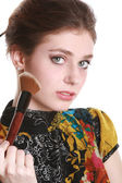 Girl with round brush for make-up — Foto de Stock