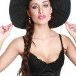 Stock Photo: Fashionable girl in black bonnet