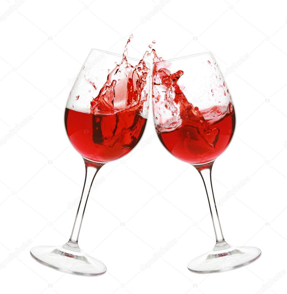 red wine splash in two glasses � stock photo 169 fotojagodka