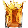 Stock Photo: Glass with splashing whisky drink