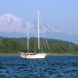 Sail Boat in front of Mt. Baker — Stock Photo