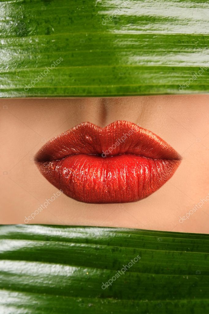 Sexy lips and green leaf — Stock fotografie #2789399