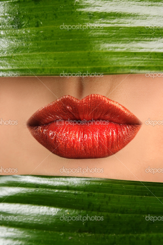 Sexy lips and green leaf — Stockfoto #2789399