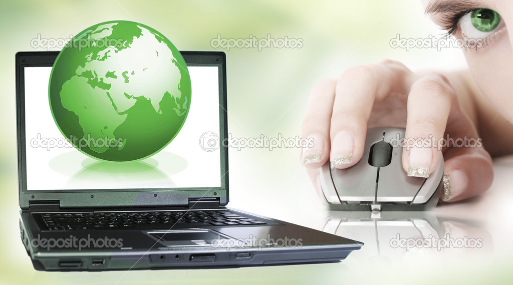 World and laptop on green — Stock Photo #2965137