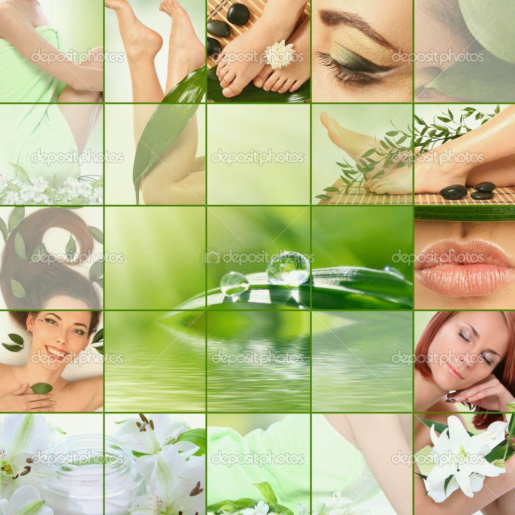 Green spa collage — Stock Photo #3165971