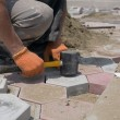 Stock Photo: Worker paving stones
