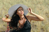 The girl in steppe — Stock Photo