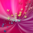 Abstract red background and butterflies — Stock Photo