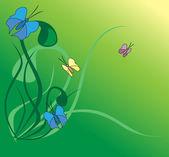 Vector illustration with butterflies — Stock Vector