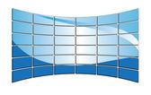 3D vector blue tv monitors — Stock Vector