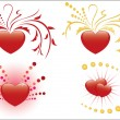 Set of 4 illustrations of red hearts — Vector de stock