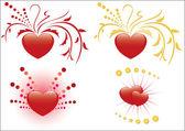 Conjunto de 4 ilustraciones de corazones rojos — Vector de stock
