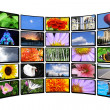 Color display on white wall, tv monitor — Stock Photo #3333630
