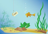Vector illustration with fish and sea — Stock Vector