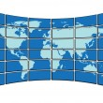 Vector illustration - map on screens — Stock Vector