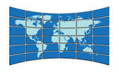 Vector illustration - map on screens — Stock vektor