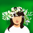 Royalty-Free Stock Vector Image: Little girl with circlet of flowers - vector